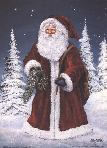 Santa with Garland  Fine-Art Print