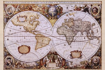 Map of the World (antique style)  Fine-Art Print