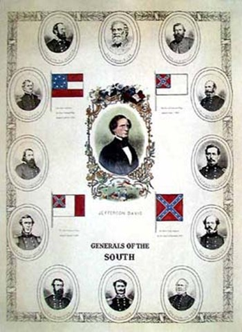 Generals of the South  Hand Colored Print