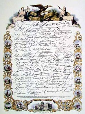 Signatures to Declaration  Hand Colored Print