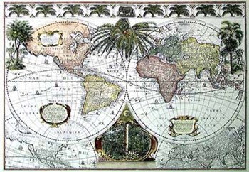 Map of the World with Palms, c.1700's  Hand Colored Print