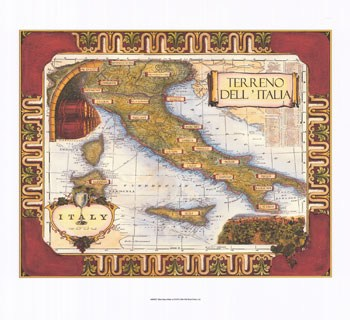 Wine Map of Italy  Giclee
