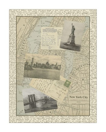 Vintage Map of New York  Giclee