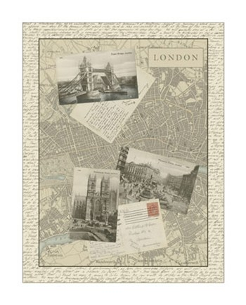 Vintage Map of London  Giclee
