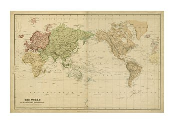 Map of the World, c.1800's (mercator projection)  Giclee
