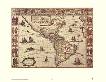 Map of North and South America  Fine-Art Print