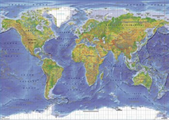 World Physical Map (miller projection)  Wall Poster