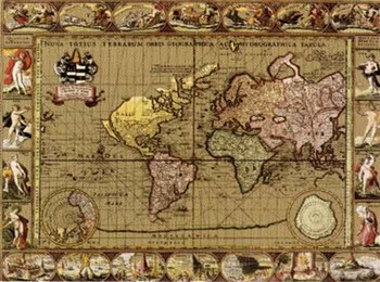 Nova Orbis III, World Map, c.1500's (Gold Foil)  Fine-Art Print