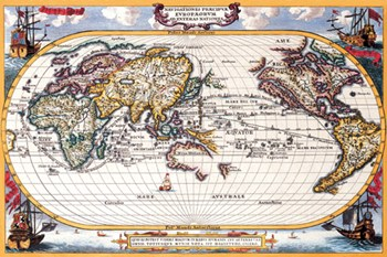 Map of the World, Indian and Pacific Navigation - Antique  Fine-Art Print