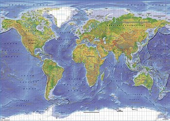 Physical World Map (Miller Projection)  Wall Poster