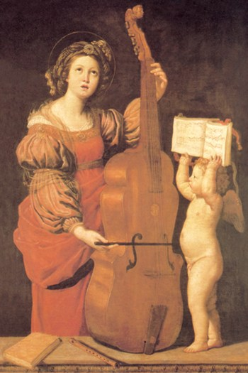 Cherub Holds Music Book for Woman Playing the Cello  Fine-Art Print