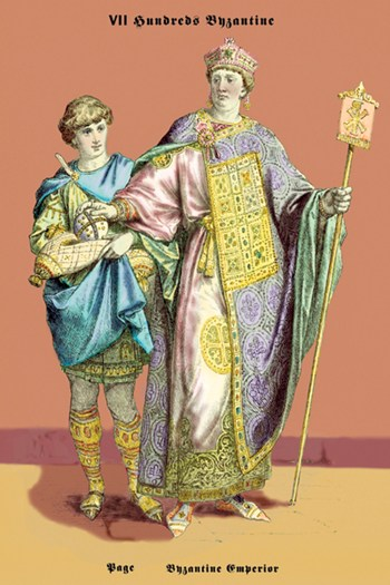 Page and Byzantine Emperor , 8th Century  Fine-Art Print