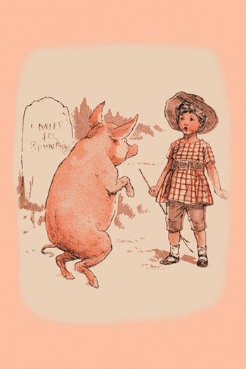 Pig on Hind Legs and Little Girl  Fine-Art Print