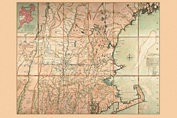 Map of the Most Inhabited Part of New England  Fine-Art Print