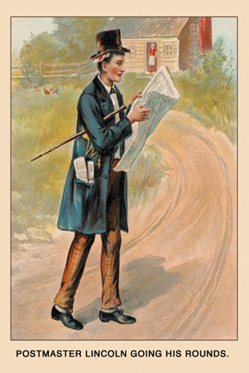 Postmaster Lincoln Going his Rounds  Fine-Art Print