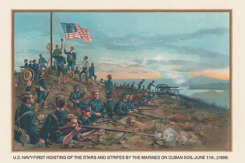 Hoisting of the Stars and Stripes on Cuban Soil, June 11, 1898  Fine-Art Print