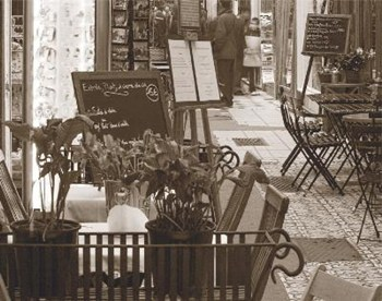 Tables In Restaurant With Plants  Fine-Art Print