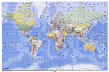Political/Physical Map of the World - (mercator projection)  Fine-Art Print