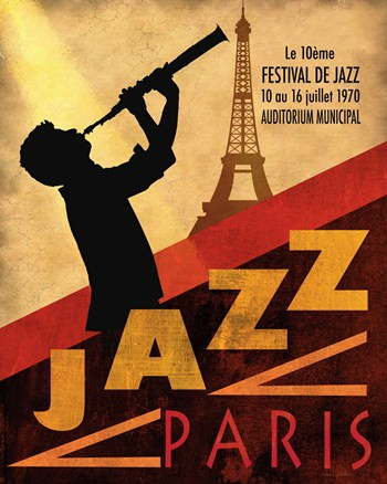 1970 jazz in paris fine art print vintage music art for Posters art prints