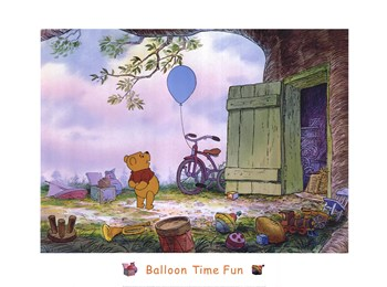 Pooh's Balloon Time Fun  Fine-Art Print