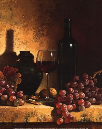 Wine Bottle, Grapes and Walnuts  Fine-Art Print