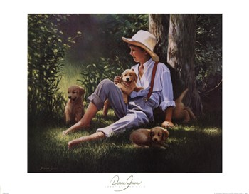 Donna Green - Jordy and the Pups Size 22x28  Fine-Art Print
