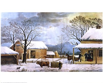 Currier and Ives - Home, Thanksgiving Size 28x16  Fine-Art Print