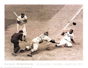 Nat Fein - Jackie Robinson Stealing Home, May 15, 1952 Size 28x2  Fine-Art Print