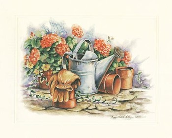 Watering Can Geraniums  Fine-Art Print