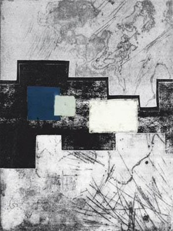 Black and white abstract with blue box fine art print