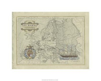 Antique Map Of Europe  Giclee