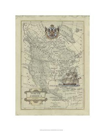 Antique Map Of North America  Giclee