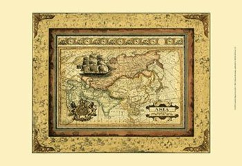 Crackled Map Of Asia  Fine-Art Print