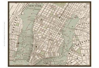Sepia Map Of New York  Fine-Art Print