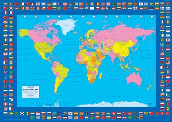 Political Map - World Flags  Wall Poster