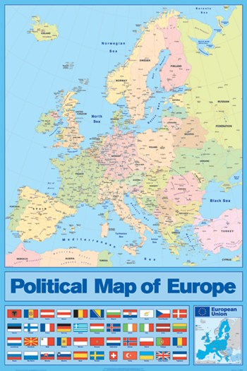 Political Map of Europe, c.2007  Wall Poster