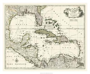 Map of the Gulf of Mexico  Fine-Art Print