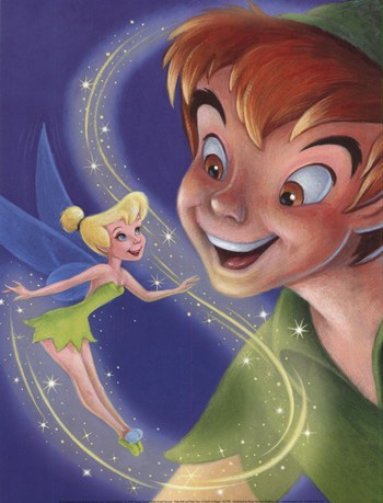 Tinker Bell and Peter Pan - A Touch of Magic  Fine-Art Print
