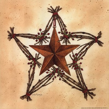 Barn Star with Star Wreath  Fine-Art Print