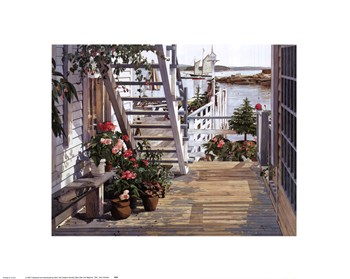 John Atwater - Blue Stair and Begonias, 1987 Size 16x20  Fine-Art Print