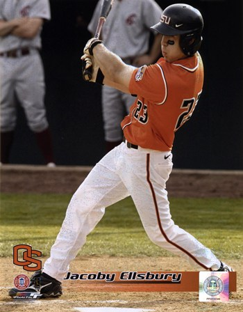 Jacoby Ellsbury Oregon State University Beavers Batting Action  Fine-Art Print