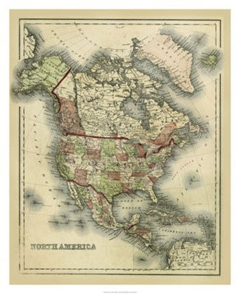 Antique Map of North America  Fine-Art Print