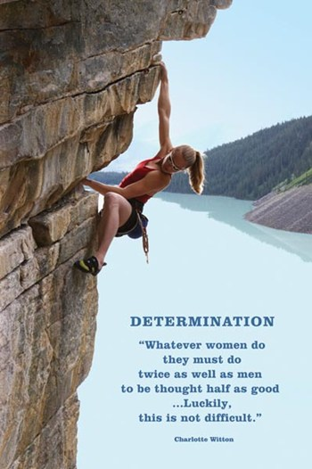 Determination (woman rock-climbing)  Wall Poster
