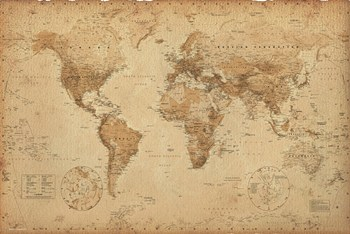 Map of the World (anitque style, miller projection)  Wall Poster