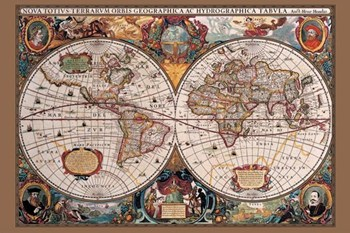 17th Century World Map  Wall Poster