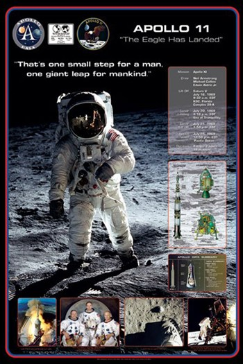 Apollo 11 - 1st Man on the Moon  Wall Poster
