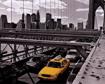 Yellow Cab on Brooklyn Bridge  Fine-Art Print
