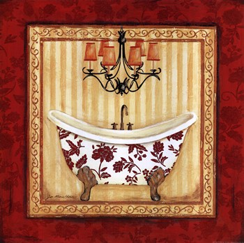Contemporary Bathroom Art Prints red demask bath i ~ fine-art print - contemporary bathroom art