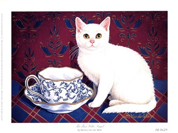 Monica Van der weer - Tea Time With Angel Size 8x6  Fine-Art Print