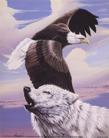 Eagle in Flight with Wolf  Fine-Art Print